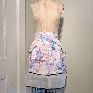 Vintage 50's Dead Stock Sheer Floral Tie Apron